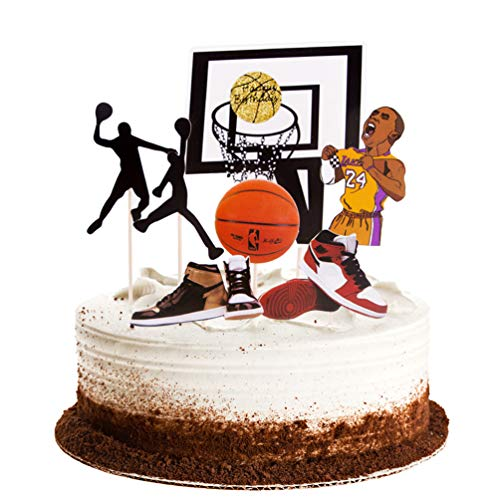 - Winrase Basketball Scene Theme Cake Toppers Set Boy Birthday Party Cupcake Toppers, Father Birthday Man Birthday Cake Topper Party Decorations Supplies