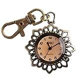 ALIENWOLF Bronze Sun Flower Smoky Quartz Pocket Key Chain Ring Watch Pendant