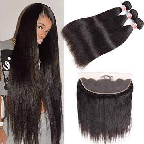 Pizazz Hair Brazilian Straight Hair 3 Bundles With Frontal Closure 13x4 Ear To Ear Lace Frontal With Bundles 9A Unprocessed Virgin Human Hair Bundles with Closure (12 12 12+10(13x4)) -