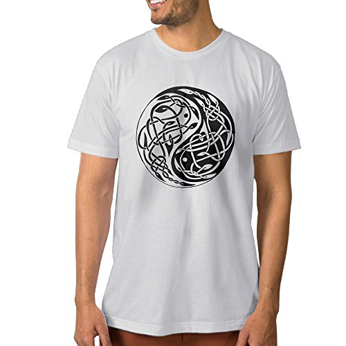 ZZYY Mens Fashion China Daoism Yin And Yang Short Sleeve Tees Outdoor O-neck White XXL