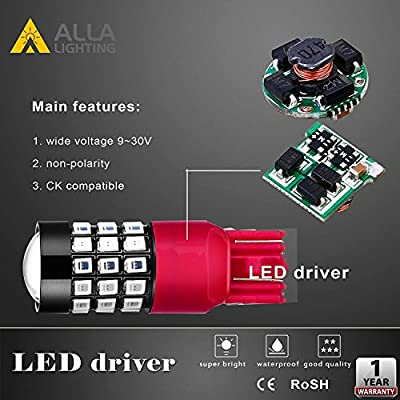 Alla Lighting 7440 7443 LED Strobe Brake Lights Bulbs Super Bright W21W T20 Wedge High Power 2835 SMD 12V Flashing Strobe Stop Lights Replacement for Cars, Trucks, Brilliant Pure Red: Automotive
