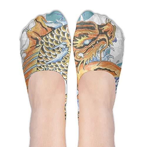 PangYuen Koi Dragon Tattoo Women's Polyester Cotton Socks Ladies Boat Socks Deodorant Boat Socks Thin Section Casual Socks Low Breast Socks ()