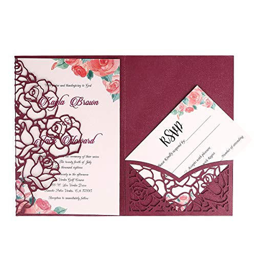 FEIYI 20 PCS 3 Folds Laser Cut Rose Shape Wedding Invitations Cards For Wedding Bridal Shower Engagement Birthday Graduation Invitation Cards (Burgundy)