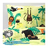 IKEA Djungelskog Duvet Cover and Pillowcases Animal Green 903.935.26 Size Twin