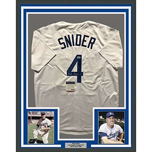 Framed Autographed/Signed Duke Snider 33x42 Los Angeles LA Brooklyn Dodgers White Baseball Jersey PSA/DNA COA
