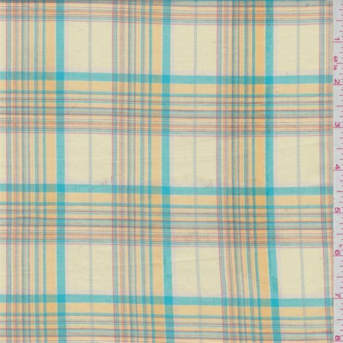 Soft Yellow/Turquoise Plaid Shirting, Fabric By the Yard