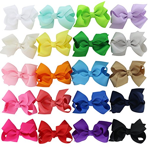 Chiffon 3in Boutique Grosgrain Ribbon Hair Bows Clips For Teens Set Of 20 Color -