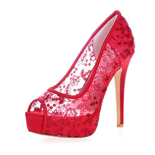 L@YC 3128-33 Plataforma De TacóN alto Para Mujer Peep Toes Pump Lace Ribbon Court Shoes Red