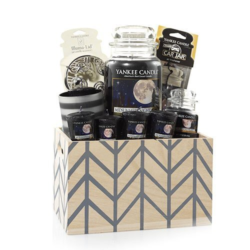 Yankee Candle Crate Chevron Basket Gift Set MIDSUMMER'S NIGHT (Gift Baskets Yankee Candle)
