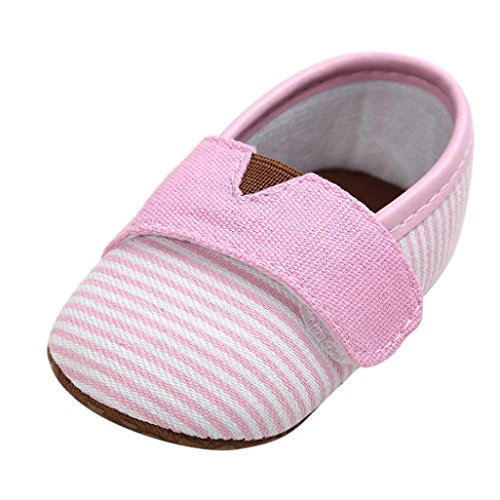 YJYdada Baby Girl Boys Stripe Canvas Shoes Sneaker Anti-slip First Walker Shoes (12(6~12month), pink)