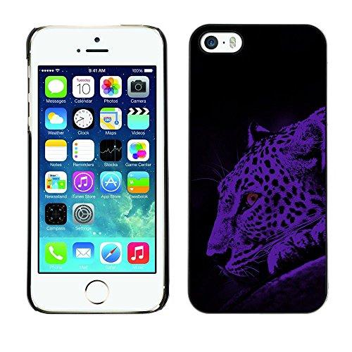 TopCaseStore / caoutchouc Hard Case Housse de protection la Peau - Leopard Moonlight Big Wild Cat Blue Spots - Apple iPhone 5 / 5S