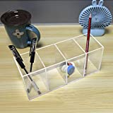 NIUBEE Acrylic Pen Holder 4 Compartments, Clear