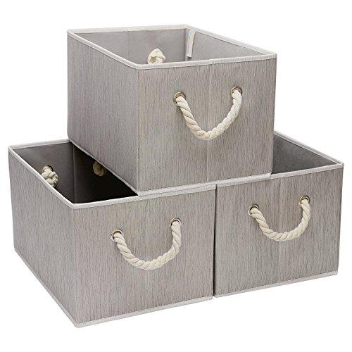 Jumbo Shelf Storage - StorageWorks Polyester Storage Box with Strong Cotton Rope Handle, Foldable Basket Organizer Bin, Gray, Bamboo Style, Jumbo, 3-Pack