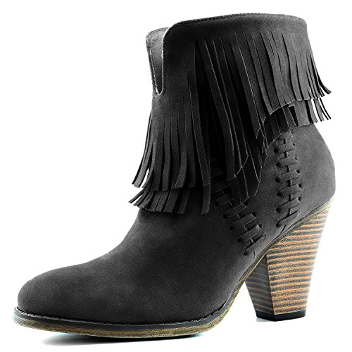 (DailyShoes Women's Western Cowboy Double Fringe High Top Ankle High Heel Boot, 7.5 Black )