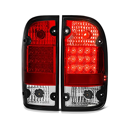 [For 1995-2000 Toyota Tacoma] VIPMOTOZ Premium LED Tail Light Lamp - Rosso Red Lens, Driver & Passenger Side