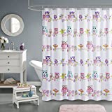 Comfort Spaces Pink/White/Grey Shower Curtain - Howdy Hoot Washable Shower Curtains for Bathroom for Girls - Printed Owl in Gray Purple Blue Orange - 72x72 inches