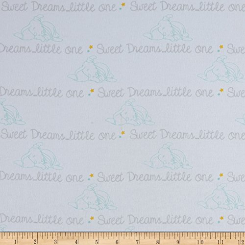 Springs Creative Products Disney Sweet Dreams Dumbo Cotton Flannel Script Gray Fabric by The Yard, (Disney Flannel Fabric)