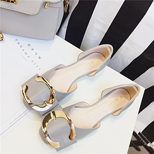 YFF Women 's shoes patent metal button patent shoes leather bow large size women' s flat shoes,gray , 41 casual all-match B072XJBFCW Parent 69791b
