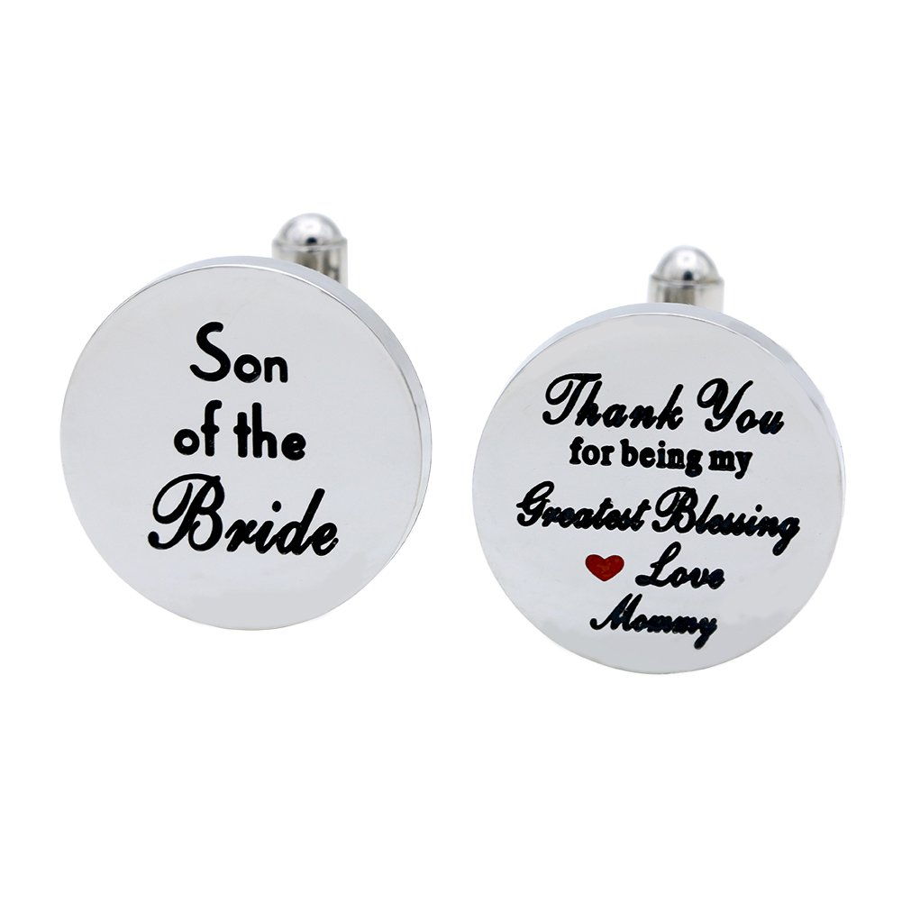 Melix Home Son of the Bride Cuff Links, Thank You for Being My Greatest Blessing Cuff Links (Grey)