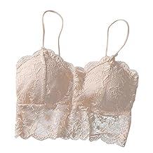 Women Lace Cross Bandage Back Straps Vest Sports Bra Underwear (Beige)
