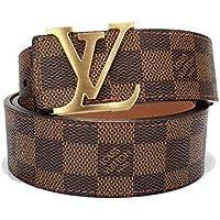 Brown-Gold fashion leather metal buckle belt(110cm)
