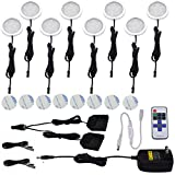 AIBOO Kitchen Under Cabinet Lighting LED 12Vdc 8 Pack Black Cord Aluminum Puck Lights for Counter Closet Furniture Lighting with Dimmable RF Remote Control(16W, Warm white)