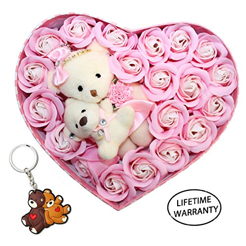 DIYJewelryDepot Mother's Day Gift Mom & Daughter Bear Plush Rhinestone Love Heart Bears + Soap Flowers Bouquet + Keychain (Pink)