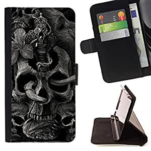 For HTC One M8 Skull Rock Roll Metal Ink Tattoo Black Style PU Leather Case Wallet Flip Stand Flap Closure Cover