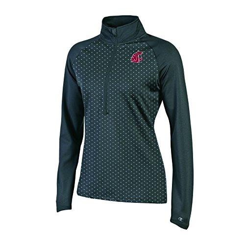 Champion NCAA Washington State Cougars Women's Ladies' Classic Workout 1/2 Zip Jacket, Black, X-Small