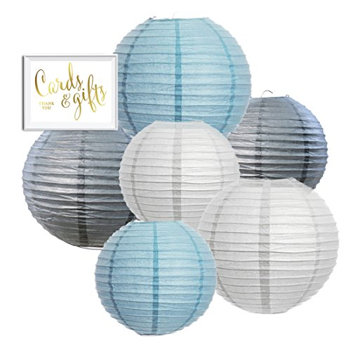Andaz Press Hanging Paper Lantern Party Decor Trio Kit with Free Party Sign, White, Baby Blue, Gray, 6-Pack, For Elephant Boy Baby Shower Baptism Decorations (Decoration Baby Shower Boy)