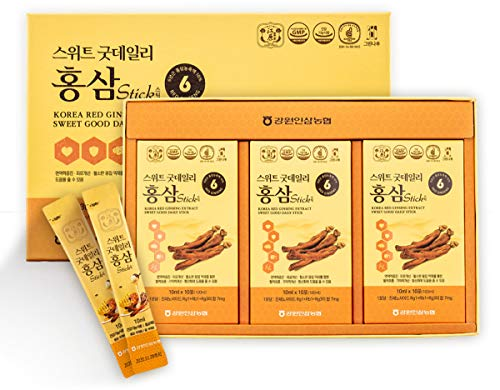Gangwoninsam Korean Red Ginseng Extract Sweet Good Daily Stick 30 Count 6 Year Old Red Ginseng Extract, Korean Health Food, Individually Packaged, 0.35 fl. oz 10ml , 3 X 10-Count Box