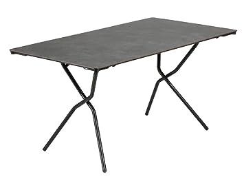 Lafuma Table de jardin rectangle, 139 x 79 cm, 4-6 places, Pliable,  Protection intempéries, Anytime, Couleur: Volcanic, LFM2716-8232