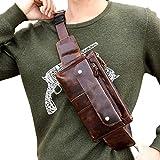 Hebetag Leather Fanny Pack Waist Bag for Men Women