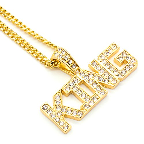 King Costume Jewelry (Mix&Match Gold-Tone Hip-Hop Iced out KING Pendant Necklace, 24 Inches (Gold/Cuban))