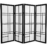 Oriental Furniture 4 ft. Tall Eudes Shoji Screen - Black - 4 Panels