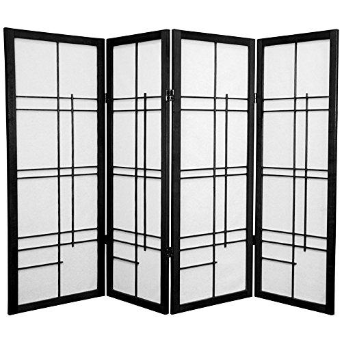 Oriental Furniture 4 ft. Tall Eudes Shoji Screen - Black - 4 Panels (High End Dividers Room)