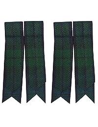 Scottish Kilt Sock Flashes various Tartans/Highland Kilt Hose Flashes pointed (Black watch)