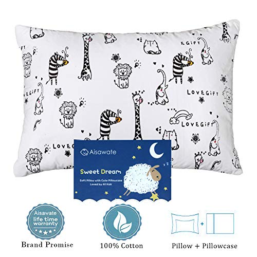 (Toddler Kids Pillow with Pillowcase,Soft Organic Cotton Baby Childrens Pillows 13X18 for Girls Boys Sleeping,Washable and Hypoallergenic,Best Kids Gift)