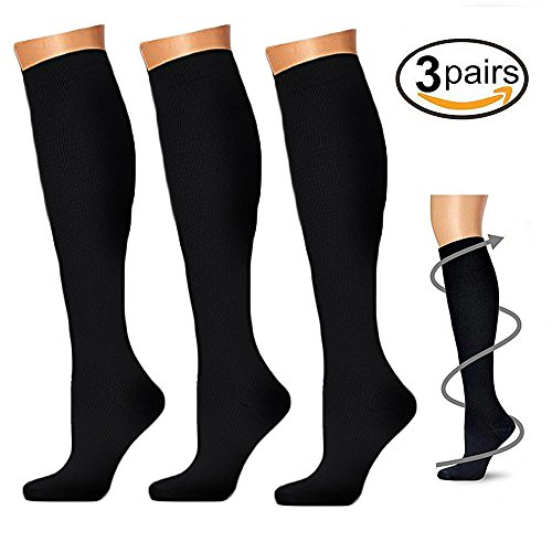 Compression Socks (3 Pairs), 15-20 mmhg is BEST Athletic & Medical for Men & Women, Running, Flight, Travel, Nurses, Pregnant - Boost Performance, Blood Circulation & Recovery (Small/Medium, Black)