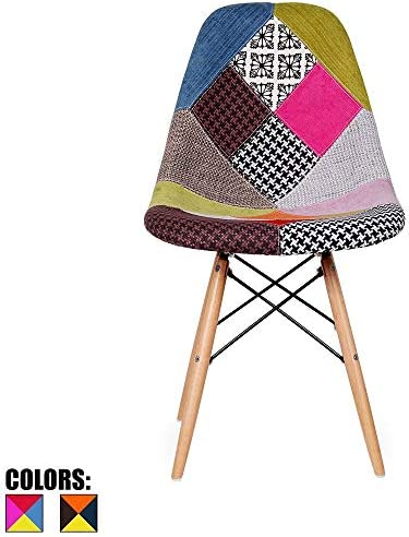 2xhome Multicolor – Modern Upholstered Side Fabric Chair Patchwork Multi-Pattern Natural Wood Leg Eiffel Dining Room Chair No arm