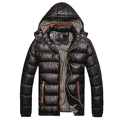 GOVOW Leather and Cotton Jacket Men Thickening Warm Cotton Padded Coat Winter Hat Removable(US:8/CN:L,Black)