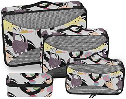 トラベル ポーチ 旅行用 収納ケース 4点セット トラベルポーチセット アレンジケース スーツケース整理 萌え かわいい 猫柄 ネコ 猛虎 タイガー柄 収納ポーチ 大容量 軽量 衣類 トイレタリーバッグ インナーバッグ