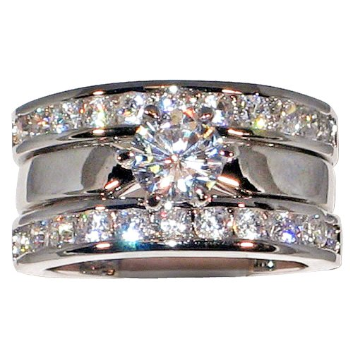 2.54 Ct. Solitaire Cubic Zirconia Cz Bridal Engagement Wedding Ring Guard Set (Center Stone- 1 Ct.) (5)