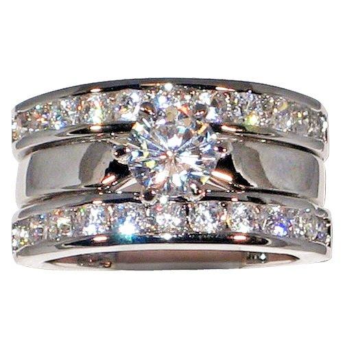 2.54 Ct. Solitaire Cubic Zirconia Cz Bridal Engagement Wedding Ring Guard Set (Center Stone- 1 Ct.) (5) ()