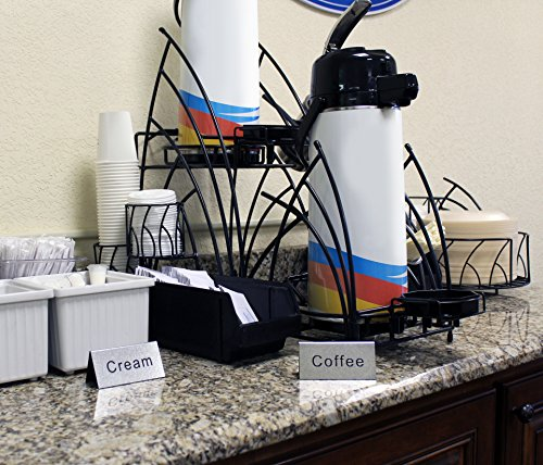 Review Coffee & Tea Carafe Signs (Set of 8); Tabletop Tent-Style Food Service Signs w/ Coffee, Decaf, Tea, Milk, Cream, Hot Water, Etc., 3.75 x 2-Inch