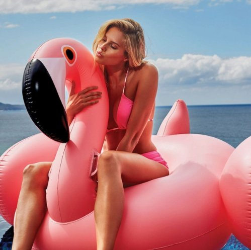 thitiwat 150CM 60 Inch Giant Inflatable Flamingo Pool Float Pink Ride-On Swimming Ring Adults Children Water Holiday Party Toys (Open Enclosure Telephone)