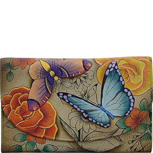 Anna by Anuschka Hand Painted Leather | Large Three Fold Checkbook Wallet/Clutch | Floral Paradise ()