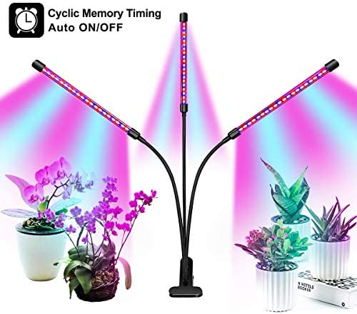 Full Spectrum Grow Light for Indoor Plants, Auto ON Off Bulbs with 3 9 12H Timer, 9 Dimmable Lightness Clip-On Desk Led Plant Growing Lamps with AC Adapter .