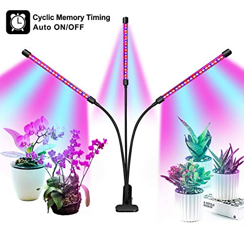 Full Spectrum Grow Light for Indoor Plants, Auto ON Off Bulbs with 3 9 12H Timer, 8 Dimmable Lightness Clip-On Desk Led Plant Growing Lamps with AC Adapter .