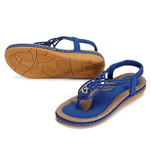 On for Open Vacation Flip Slip Blue Flat with Clip Style Shoes Strap Wedge Flops Sandals Flats Heels Casual Beach Size Socofy Walking Shoes Bohemian Summer T Women's Toe Braided Thongs Toe TfqYUF